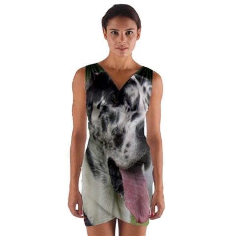 Great Dane harlequin  Wrap Front Bodycon Dress
