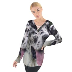 Great Dane harlequin  Women s Tie Up Tee