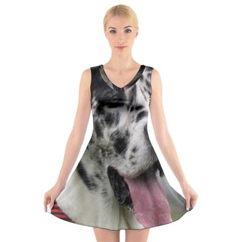 Great Dane harlequin  V-Neck Sleeveless Skater Dress