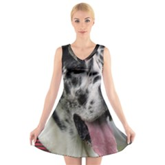 Great Dane harlequin  V-Neck Sleeveless Skater Dress