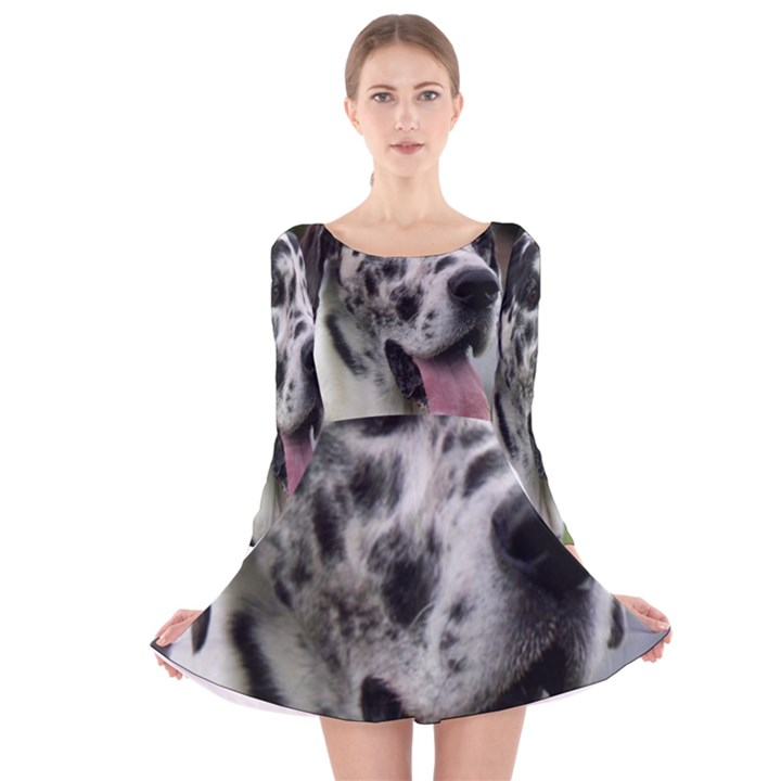 Great Dane harlequin  Long Sleeve Velvet Skater Dress