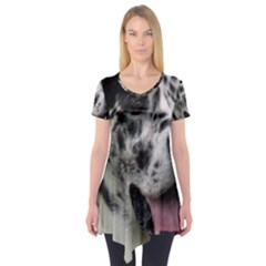 Great Dane harlequin  Short Sleeve Tunic