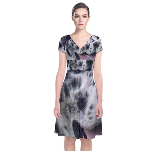Great Dane harlequin  Short Sleeve Front Wrap Dress