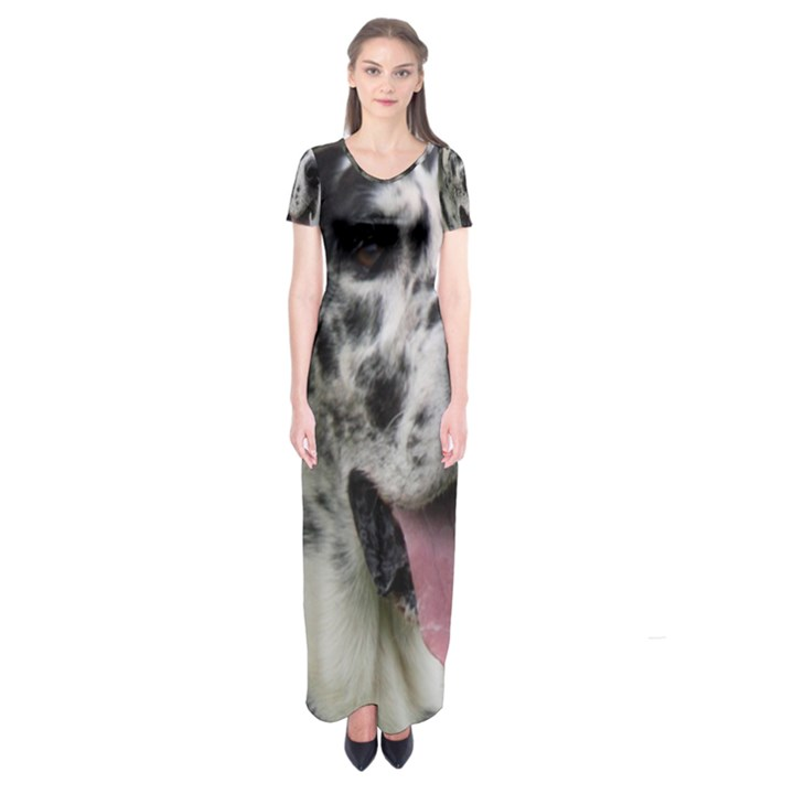 Great Dane harlequin  Short Sleeve Maxi Dress