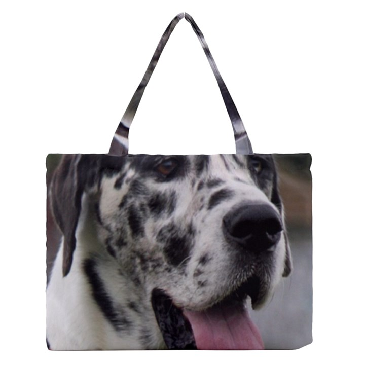 Great Dane harlequin  Medium Zipper Tote Bag