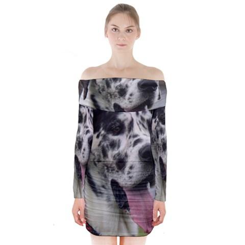 Great Dane harlequin  Long Sleeve Off Shoulder Dress