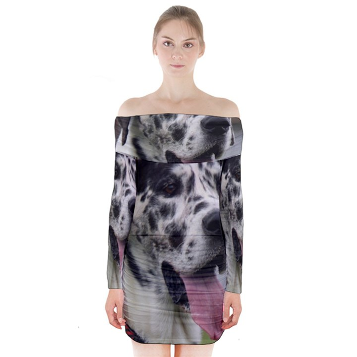 Great Dane harlequin  Long Sleeve Off Shoulder Dress