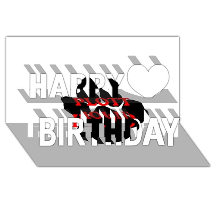 Plott Hound Name Paw Happy Birthday 3D Greeting Card (8x4)