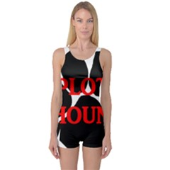 Plott Hound Name Paw One Piece Boyleg Swimsuit