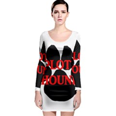 Plott Hound Name Paw Long Sleeve Bodycon Dress