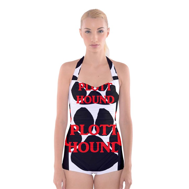 Plott Hound Name Paw Boyleg Halter Swimsuit