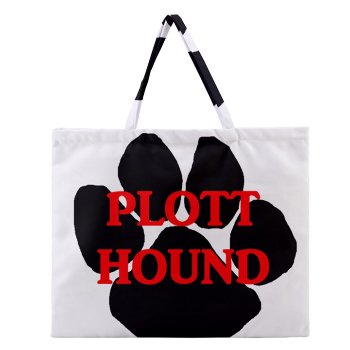 Plott Hound Name Paw Zipper Large Tote Bag