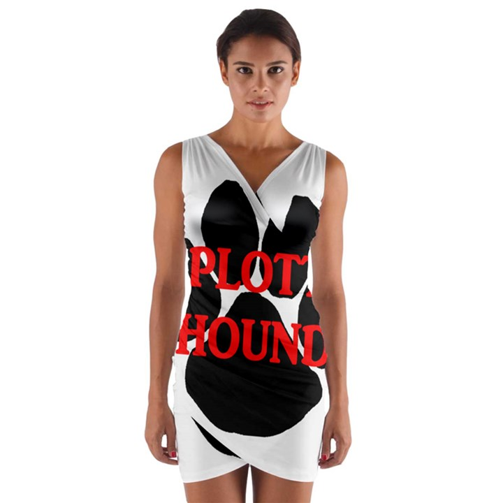 Plott Hound Name Paw Wrap Front Bodycon Dress