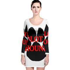 Plott Hound Name Paw Long Sleeve Velvet Bodycon Dress