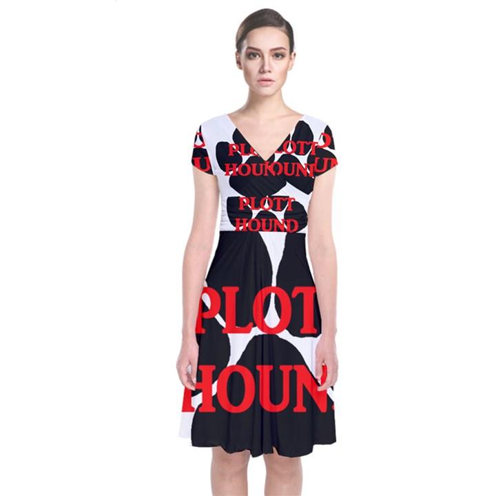 Plott Hound Name Paw Short Sleeve Front Wrap Dress