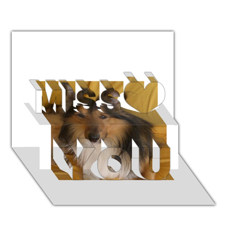 Shetland Sheepdog Miss You 3D Greeting Card (7x5)