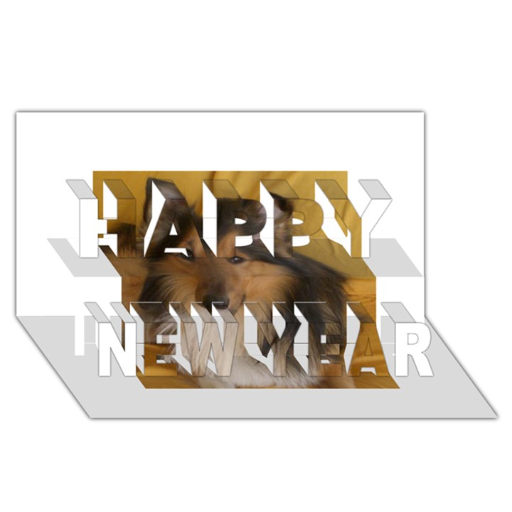 Shetland Sheepdog Happy New Year 3D Greeting Card (8x4)