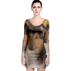 Shetland Sheepdog Long Sleeve Bodycon Dress