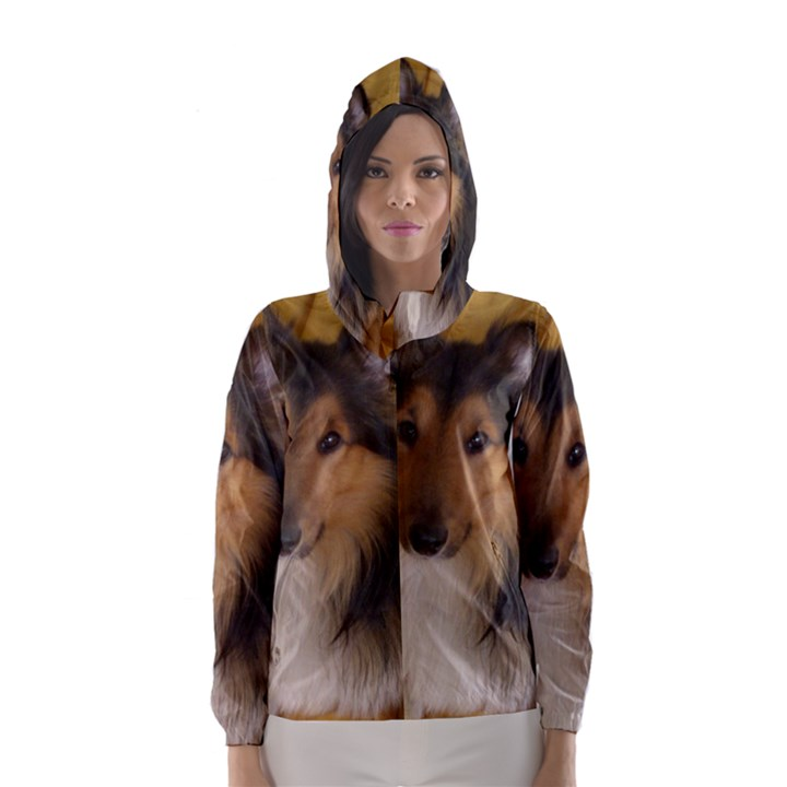 Shetland Sheepdog Hooded Wind Breaker (Women)