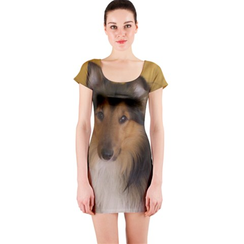 Shetland Sheepdog Short Sleeve Bodycon Dress