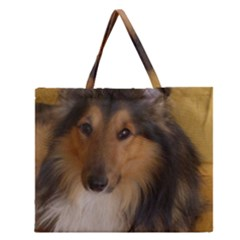 Shetland Sheepdog Zipper Large Tote Bag