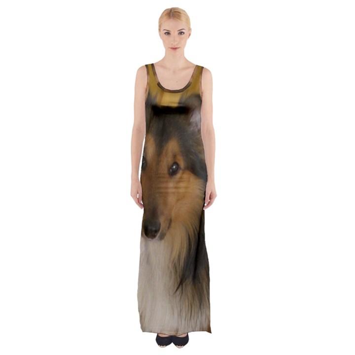 Shetland Sheepdog Maxi Thigh Split Dress