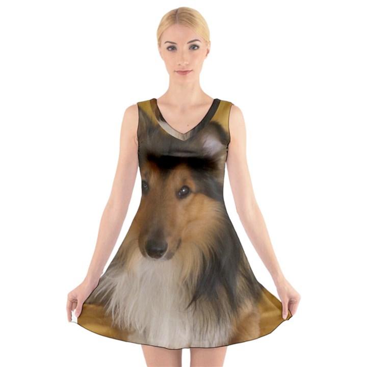 Shetland Sheepdog V-Neck Sleeveless Skater Dress