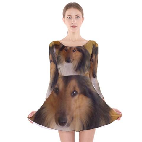 Shetland Sheepdog Long Sleeve Velvet Skater Dress