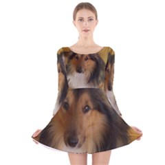 Shetland Sheepdog Long Sleeve Velvet Skater Dress