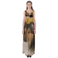Shetland Sheepdog Empire Waist Maxi Dress