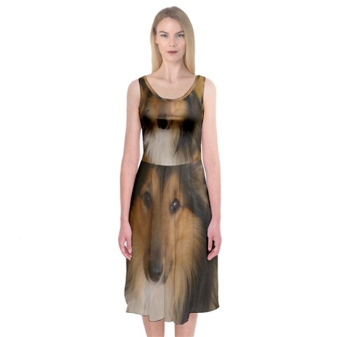 Shetland Sheepdog Midi Sleeveless Dress