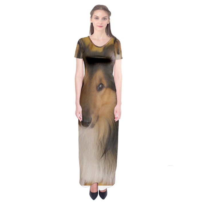 Shetland Sheepdog Short Sleeve Maxi Dress