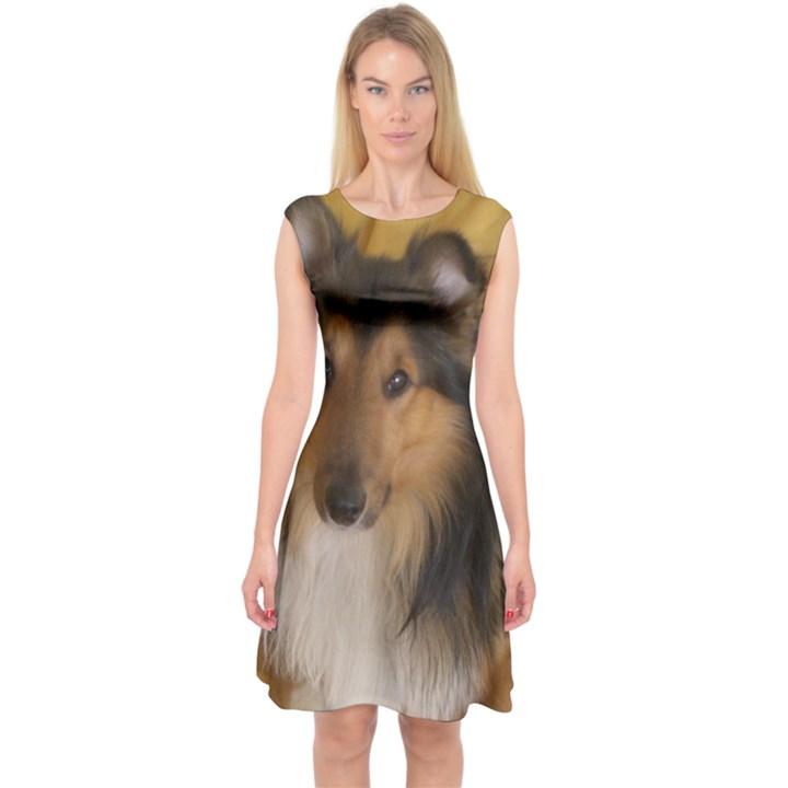 Shetland Sheepdog Capsleeve Midi Dress