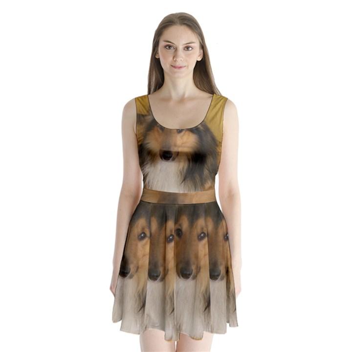 Shetland Sheepdog Split Back Mini Dress
