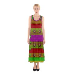 A Wonderful Rainbow And Stars Sleeveless Maxi Dress