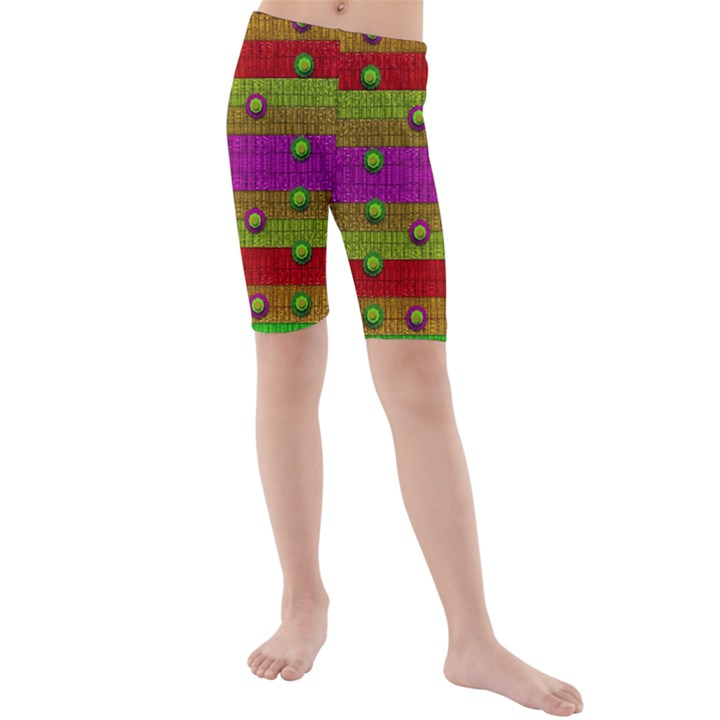 A Wonderful Rainbow And Stars Kids  Mid Length Swim Shorts