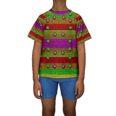 A Wonderful Rainbow And Stars Kids  Short Sleeve Swimwear