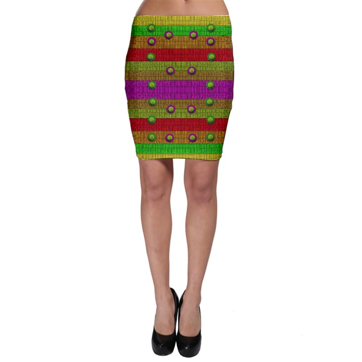A Wonderful Rainbow And Stars Bodycon Skirt