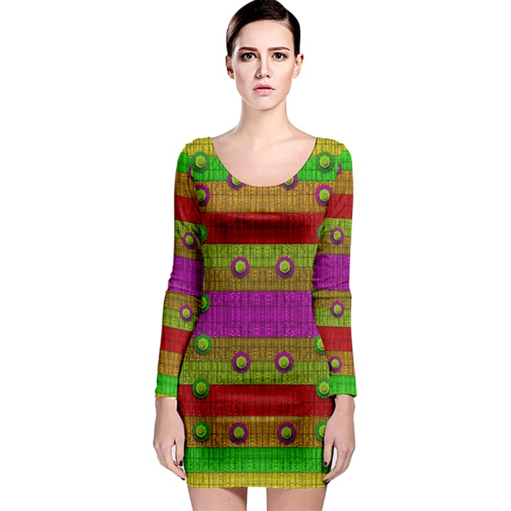 A Wonderful Rainbow And Stars Long Sleeve Bodycon Dress
