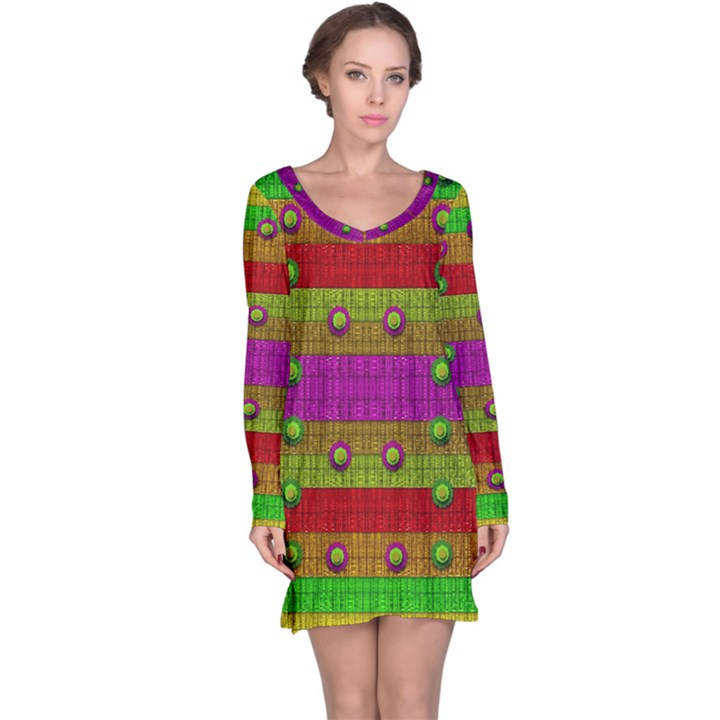 A Wonderful Rainbow And Stars Long Sleeve Nightdress