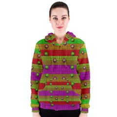 A Wonderful Rainbow And Stars Women s Zipper Hoodie