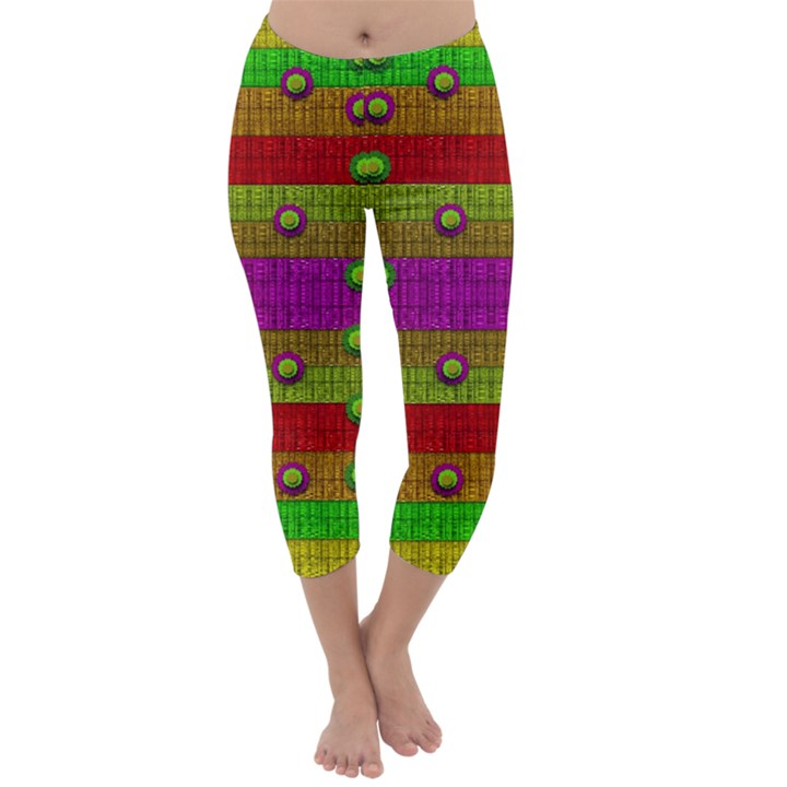 A Wonderful Rainbow And Stars Capri Winter Leggings