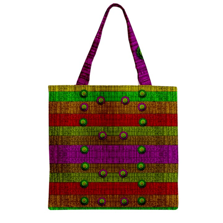 A Wonderful Rainbow And Stars Zipper Grocery Tote Bag