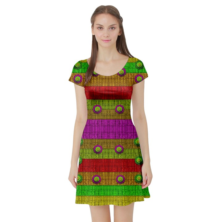 A Wonderful Rainbow And Stars Short Sleeve Skater Dress