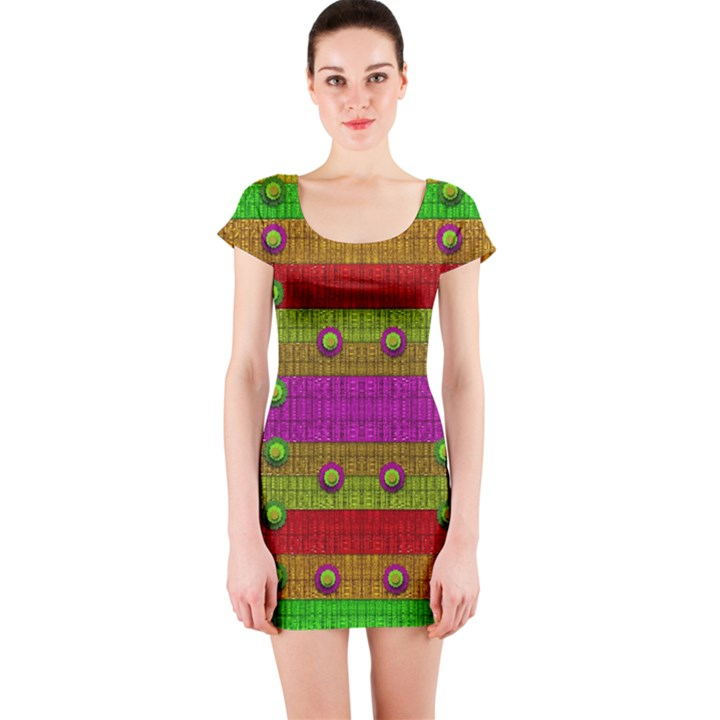 A Wonderful Rainbow And Stars Short Sleeve Bodycon Dress