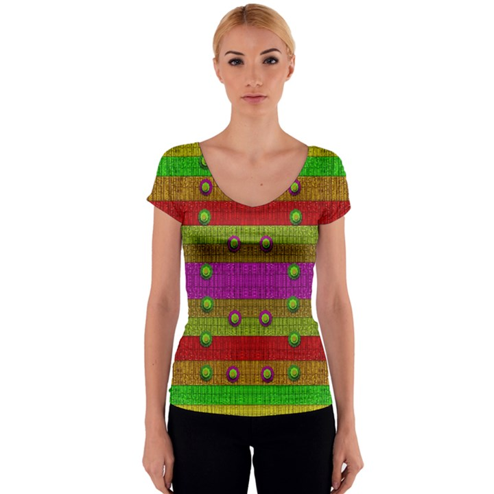 A Wonderful Rainbow And Stars Women s V-Neck Cap Sleeve Top
