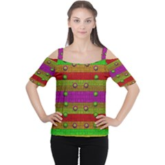 A Wonderful Rainbow And Stars Women s Cutout Shoulder Tee