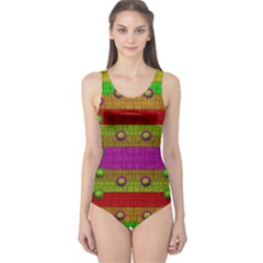 A Wonderful Rainbow And Stars One Piece Swimsuit