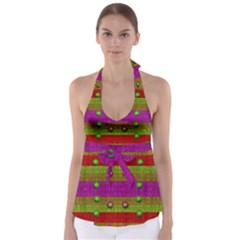 A Wonderful Rainbow And Stars Babydoll Tankini Top