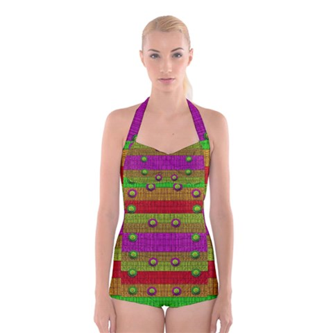 A Wonderful Rainbow And Stars Boyleg Halter Swimsuit